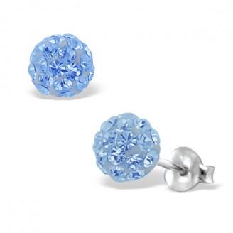 "Stříbrné náušnice pecky s krystaly ""Lucienne"" . Ag 925/1000"